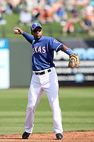 Elvis Andrus - Texas Rangers, playing in a spring training game against the Kansas City Royals at Surprise Stadium, 03/06/2010..Photo by:  Bill Mitchell/Four Seam Images.