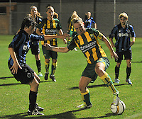 20130906 - VARSENARE , BELGIUM : ADO's Lucienne Reichardt pictured protecting the ball for Brugge's Ingrid De Rycke (left) during the female soccer match between Club Brugge Vrouwen and ADO DEN HAAG Dames , of the third matchday in the BENELEAGUE competition. Friday 06 th September 2013. PHOTO JOKE VUYLSTEKE