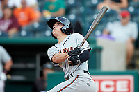 Cadyn Grenier (3) of the Delmarva Shorebirds follows through on his first professional home run that tied the game in the top of the ninth inning against the Greensboro Grasshoppers at First National Bank Field on August 26, 2018 in Greensboro, North Carolina. The Shorebirds defeated the Grasshoppers 6-4. (Brian Westerholt/Four Seam Images)