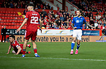 Aberdeen v St Johnstone…18.09.21  Pittodrie    SPFL<br />Stevie May scores the only goal of the game<br />Picture by Graeme Hart.<br />Copyright Perthshire Picture Agency<br />Tel: 01738 623350  Mobile: 07990 594431