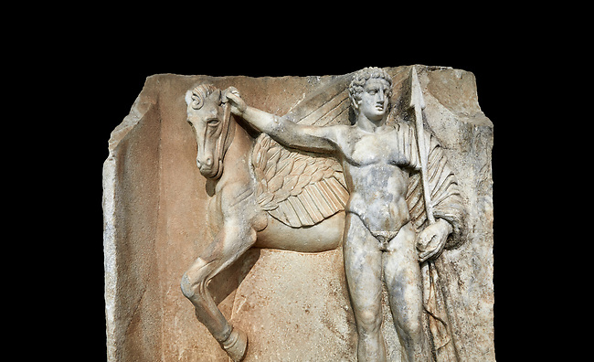 "Close up of a Roman Sebasteion relief  sculpture of  Bellerophon Aphrodisias Museum, Aphrodisias, Turkey.  Against a black background.<br /> <br /> Bellerophon was a Lykian hero and was claimed as a founder of Aphrodisias. He holds his winged horse Pegasos. The deign was modelled on another relief panel in the series ""Royal hero with Dod Hunting"". The carving is poor and the sculptor may have been a novice.modelled"