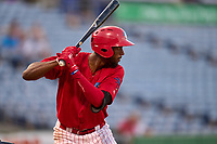 Clearwater Threshers Carlos De La Cruz (6) bats during a game against the Tampa Tarpons on June 10, 2021 at BayCare Ballpark in Clearwater, Florida.  (Mike Janes/Four Seam Images)