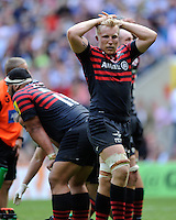 Jackson Wray of Saracens looks dejected after losing the Aviva Premiership Rugby Final to Northampton Saints during the Aviva Premiership Final between Saracens and Northampton Saints at Twickenham Stadium on Saturday 31st May 2014 (Photo by Rob Munro)
