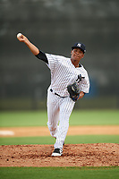 New York Yankees pitcher Albert Abreu (22) delivers a pitch during an Instructional League game against the Pittsburgh Pirates on September 29, 2017 at the Yankees Minor League Complex in Tampa, Florida.  (Mike Janes/Four Seam Images)