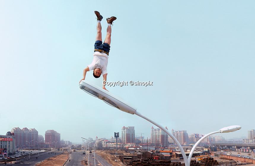 "Li Wei artwork named ""Bright Apex"" in Beijing...PHOTO BY SINOPIX"