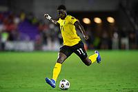 ORLANDO, FL - JULY 20: Shamar Nicholson #11 of Jamaica kicks the ball during a game between Costa Rica and Jamaica at Exploria Stadium on July 20, 2021 in Orlando, Florida.