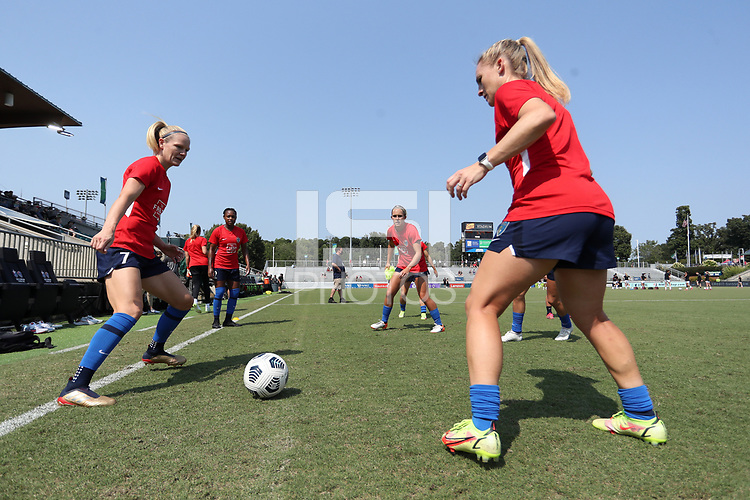 CARY, NC - SEPTEMBER 12: Diane Caldwell #7, Taylor Smith #2, Brittany Ratcliffe #27, and Amy Rodriguez #12 of the North Carolina Courage play a small sided game before a game between Portland Thorns FC and North Carolina Courage at Sahlen's Stadium at WakeMed Soccer Park on September 12, 2021 in Cary, North Carolina.