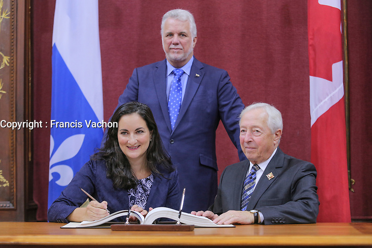 Marie Montpetit is sworn in as Ministre de la Culture et des Communications et ministre responsable de la Protection et de la Promotion de la langue francaise (Minister of culture) of the new Liberal cabinet at the National Assembly in Quebec city October 11, 2017.<br /> <br /> PHOTO :  Francis Vachon - Agence Quebec Presse