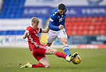 St Johnstone v Aberdeen…10.04.21   McDiarmid Park   SPFL<br />Ross McCrorie tackles Craig Conway<br />Picture by Graeme Hart.<br />Copyright Perthshire Picture Agency<br />Tel: 01738 623350  Mobile: 07990 594431
