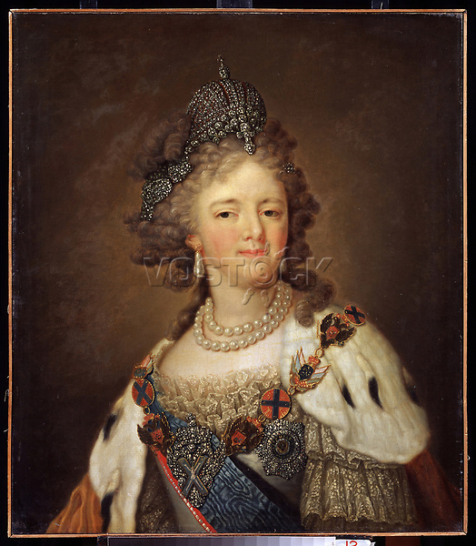Portrait of Empress Maria Feodorovna (Sophie Dorothea of Württemberg) (1759-1828)<br /> Artist:Borovikovsky, Vladimir Lukich(1757-1825)<br /> Museum:State B. Kustodiev Art Gallery, Astrakhan<br /> Method:Oil on canvas<br /> School:Russia<br /> Tsar's Family. House of Romanov<br /> Trend in art:Russian Art of 18th cen.