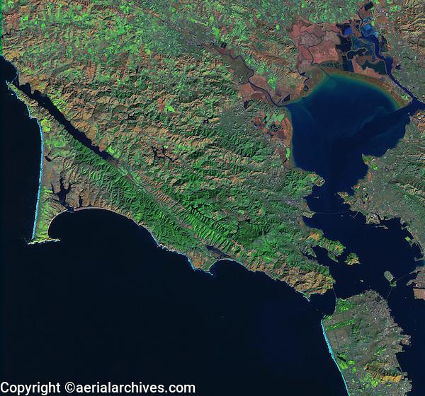 satellite image of Point Reyes, San Francisco bay