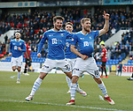 St Johnstone v St Mirren…27.10.18…   McDiarmid Park    SPFL<br />David Wotherspoon celebrates his goal with Matty Kennedy<br />Picture by Graeme Hart. <br />Copyright Perthshire Picture Agency<br />Tel: 01738 623350  Mobile: 07990 594431
