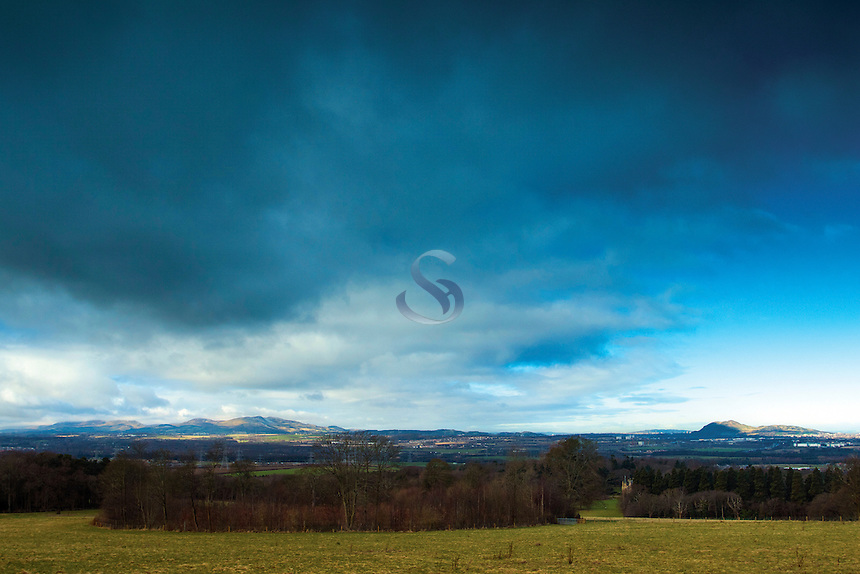 Edinburgh, the Pentland Hills and Arthur's Seat from Carberry Hill, East Lothian