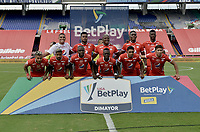 CALI - COLOMBIA, 04-04-2021: Jugadores del América posan para una foto previo al partido por la fecha 17 como parte de la Liga BetPlay DIMAYOR I 2021 entre América de Cali y La Equidad jugado en el estadio Pascual Guerrero de la ciudad de Cali. / Players of America pose to a photo prior match between America de Cali and La Equidad for the date 17 as part of Liga BetPlay DIMAYOR I 2021 played at Pascual Guerrero stadium in Cali city. Photo: VizzorImage / Gabriel Aponte / Staff