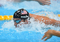August 04, 2012..Michael Phelps competes in Men's 4x100 Medley Relay at the Aquatics Center on day eight of 2012 Olympic Games in London, United Kingdom.