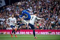 19th September 2021; Tottenham Hotspur Stadium, Tottenham, London; Son Heung-min challenges Andreas Christensen during the Premier League match between Tottenham Hotspur and Chelsea at Tottenham Hotspur Stadium