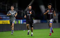Lincoln City manager Danny Cowley, centre, joins in the post match fitness session alongside Lincoln City's Michael O'Connor, left, and Lincoln City's Ziyad El-Oyouni<br /> <br /> Photographer Chris Vaughan/CameraSport<br /> <br /> The Carabao Cup First Round - Huddersfield Town v Lincoln City - Tuesday 13th August 2019 - John Smith's Stadium - Huddersfield<br />  <br /> World Copyright © 2019 CameraSport. All rights reserved. 43 Linden Ave. Countesthorpe. Leicester. England. LE8 5PG - Tel: +44 (0) 116 277 4147 - admin@camerasport.com - www.camerasport.com