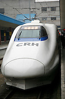 A view of a new high-speed train at the rail station in Shanghai, China. The rail authorities introduced the high-speed trains as a measure to ease the pressure on the nation's transportation network during the Chinese New Year season, it is also a sign of continued efforts by the Chinese government to upgrade it's rail network..21 Feb 2007
