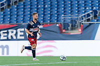 FOXBOROUGH, MA - JULY 9: Pierre Cayet #44 of New England Revolution II brings the ball forward during a game between Toronto FC II and New England Revolution II at Gillette Stadium on July 9, 2021 in Foxborough, Massachusetts.