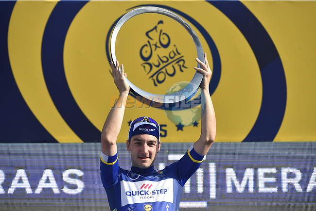 Race leader Elia Viviani (ITA) Quick-Step Floors wins overall  at the end of Stage 5 The Meraas Stage final stage of the Dubai Tour 2018 the Dubai Tour's 5th edition, running 132km from Skydive Dubai to City Walk, Dubai, United Arab Emirates. 10th February 2018.<br /> Picture: LaPresse/Fabio Ferrari   Cyclefile<br /> <br /> <br /> All photos usage must carry mandatory copyright credit (© Cyclefile   LaPresse/Fabio Ferrari)