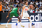 Real Madrid's player Sergio Llull and Unicaja Malaga's player Kyle Fogg during match of Liga Endesa at Barclaycard Center in Madrid. September 30, Spain. 2016. (ALTERPHOTOS/BorjaB.Hojas)
