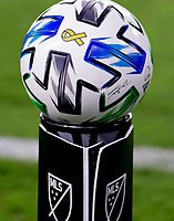 LOS ANGELES, CA - SEPTEMBER 02: MLS Adidas Ball during a game between San Jose Earthquakes and Los Angeles FC at Banc of California stadium on September 02, 2020 in Los Angeles, California.