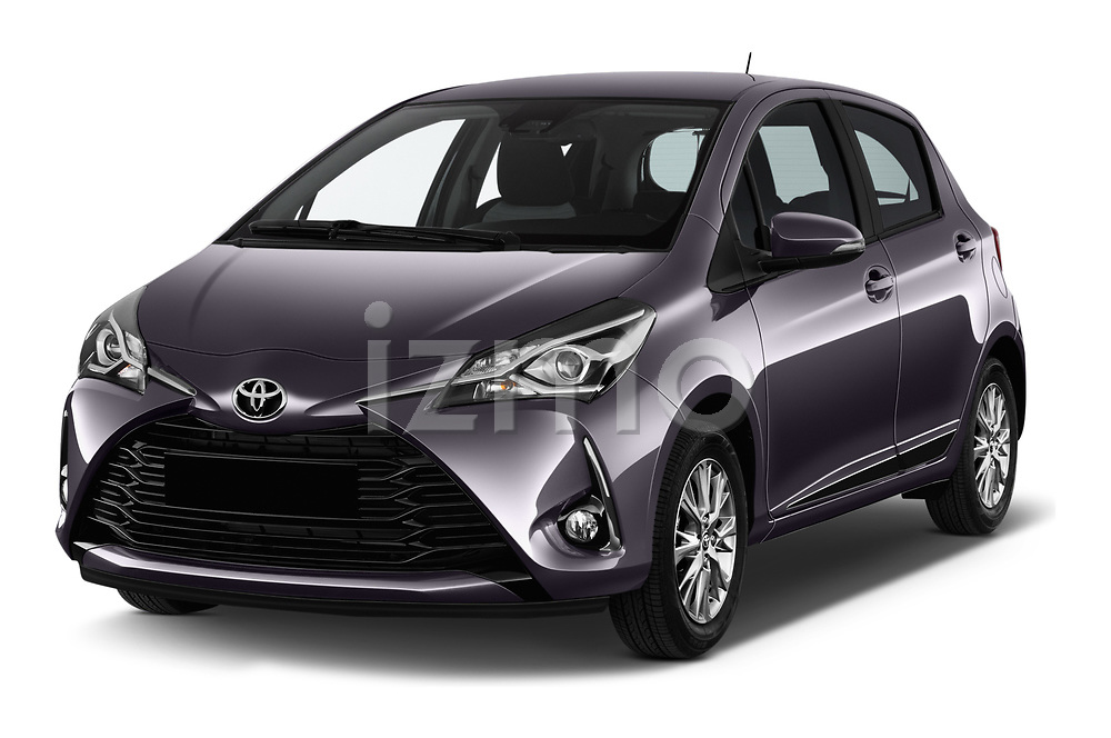 2017 Toyota Yaris Y-conic 5 Door Hatchback angular front stock photos of front three quarter view