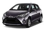2017 Toyota Yaris Y-conic 5 Door Hatchback angular front stock photos of front three quarter view