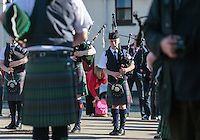 a member of the Skye Youth Pipe Band playing on a bagpipe in a concert at the Main square in Portree, Scotland on 2015/06/10. Foto EXPA/ JFK/Insidefoto