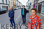 Listowel Municipal councillors standing in Church Street in Listowel on Tuesday afternoon where it is proposed that car parking spaces be removed from the street from next week on.   <br /> Front right: Cllr Aoife Thornton. Back l to r: Cllr Jimmy Moloney and Cllr Tom Barry.