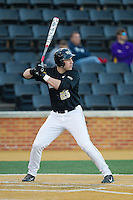 Matt Conway (25) of the Wake Forest Demon Deacons at bat against the Missouri Tigers at Wake Forest Baseball Park on February 22, 2014 in Winston-Salem, North Carolina.  The Demon Deacons defeated the Tigers 1-0.  (Brian Westerholt/Four Seam Images)