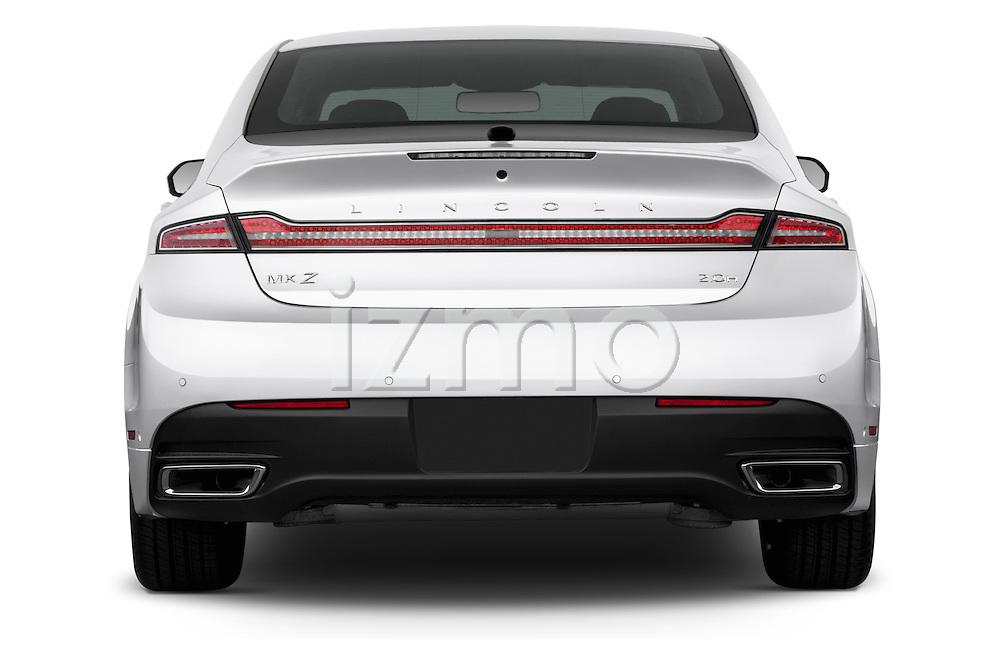 Straight rear view of a 2013 Lincoln MKZ Hybrid Sedan