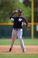 New York Yankees Dermis Garcia (92) during a minor league Spring Training game against the Pittsburgh Pirates on March 26, 2016 at Pirate City in Bradenton, Florida.  (Mike Janes/Four Seam Images)