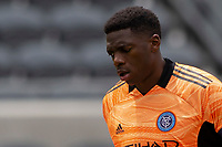 LOS ANGELES, CA - MAY 29: Sean Johnson #1 of NYCFC during a game between New York City FC and Los Angeles FC at Banc of California Stadium on May 29, 2021 in Los Angeles, California.