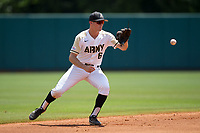 Army Black Knights shortstop Trey Martin (6) fields a ground ball during the game against the North Carolina State Wolfpack at Doak Field at Dail Park on June 3, 2018 in Raleigh, North Carolina. The Wolfpack defeated the Black Knights 11-1. (Brian Westerholt/Four Seam Images)
