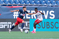 FOXBOROUGH, MA - JUNE 26: Damian Rivera #72 of the New England Revolution, Bernard Kamungo #7 of North Texas SC during a game between North Texas SC and New England Revolution II at Gillette Stadium on June 26, 2021 in Foxborough, Massachusetts.