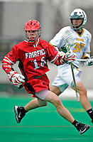 1 April 2008: Fairfield University Stags' Midfielder Max Trunz, a Freshman from Upper Brookville, NY, in action against the University of Vermont Catamounts at Moulton Winder Field, in Burlington, Vermont. The Catamounts rallied to overcome a five goal deficit and defeat the visiting Stags 9-8 notching their third win of the season...Mandatory Photo Credit: Ed Wolfstein Photo