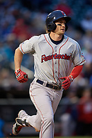 Pawtucket Red Sox shortstop Ryan Court (2) runs to first base during a game against the Buffalo Bisons on May 19, 2017 at Coca-Cola Field in Buffalo, New York.  Buffalo defeated Pawtucket 7-5 in thirteen innings.  (Mike Janes/Four Seam Images)