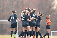 LOUISVILLE, KY - MARCH 13: Racing Louisville FC players celebrate a goal during a game between West Virginia University and Racing Louisville FC at Thurman Hutchins Park on March 13, 2021 in Louisville, Kentucky.