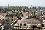 View from La Giralda  over the roofs of the cathedral towards the Rio Gaudalquivir in Seville,Spain.