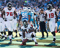 The Carolina Panthers defeated the Atlanta Falcons 34-10 in an inter-division rivalry played in Charlotte, NC at Bank of America Stadium.  Atlanta Falcons running back Steven Jackson (39) celebrates after a touchdown run.