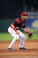 Batavia Muckdogs third baseman J.J. Gould (49) during a game against the West Virginia Black Bears on June 28, 2016 at Dwyer Stadium in Batavia, New York.  Batavia defeated West Virginia 3-1.  (Mike Janes/Four Seam Images)