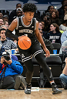 WASHINGTON, DC - FEBRUARY 19: David Duke #3 of Providence dribbles up court during a game between Providence and Georgetown at Capital One Arena on February 19, 2020 in Washington, DC.