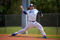 South Dakota State Jackrabbits starting pitcher Tyler Olmstead (28) during a game against the FIU Panthers on February 23, 2019 at North Charlotte Regional Park in Port Charlotte, Florida.  South Dakota State defeated FIU 4-3.  (Mike Janes/Four Seam Images)