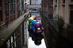 © Joel Goodman - 07973 332324 - all rights reserved . 25/08/2019. Manchester, UK. A row of rainbow coloured ducks float in the water opposite Canal Street . Revellers in Manchester's Gay Village during the city's annual Gay Pride festival , which celebrates LGBTQ+ life and is the largest of its type in Europe . Photo credit : Joel Goodman