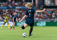 HOUSTON, TX - JUNE 13: Samantha Mewis #3 of the USWNT passes the ball during a game between Jamaica and USWNT at BBVA Stadium on June 13, 2021 in Houston, Texas.