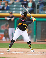 Eric Young Jr. (8) of the Salt Lake Bees at bat against the Fresno Grizzlies in Pacific Coast League action at Smith's Ballpark on April 17, 2017 in Salt Lake City, Utah. The Bees defeated the Grizzlies 6-2. (Stephen Smith/Four Seam Images)