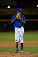 AZL Cubs 1 relief pitcher Albert Hinirio (22) during an Arizona League game against the AZL Athletics Gold at Sloan Park on June 20, 2019 in Mesa, Arizona. AZL Athletics Gold defeated AZL Cubs 1 21-3. (Zachary Lucy/Four Seam Images)