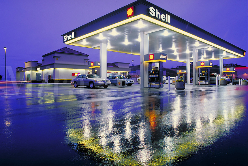Shell gas station at night.
