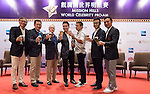 (L-R) George Chen, Chairman and CEO of China Distribution and Logistics Co. Y C Koh, President Asia of American Express, Michael Douglas, Dr. Ken Chu, Jeremy Renner, Lizzy Zhu, Vice President of Lexus China and Tenniel Chu attend a press conference during the World Celebrity Pro-Am 2016 Mission Hills China Golf Tournament on 21 October 2016, in Haikou, China. Photo by Weixiang Lim / Power Sport Images